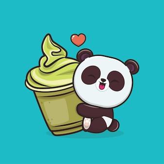 Ilustração do mascote do kawaii cute animal panda
