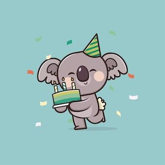 Ilustração do mascote do kawaii cute koala com bolo de aniversário