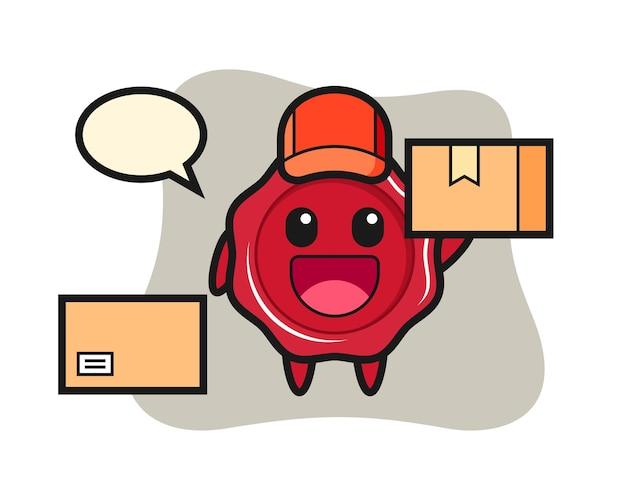 Ilustração do mascote do lacre como correio