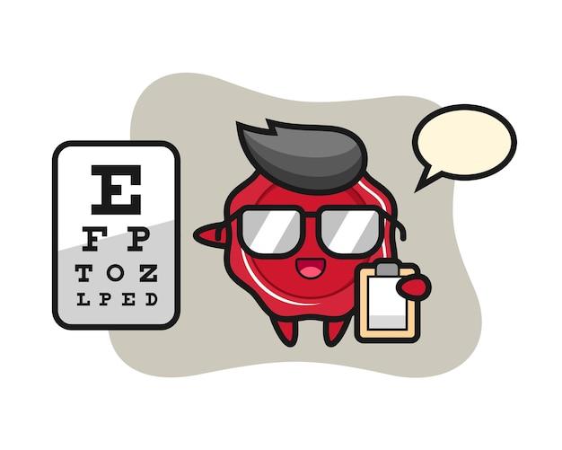 Ilustração do mascote do lacre como oftalmologia