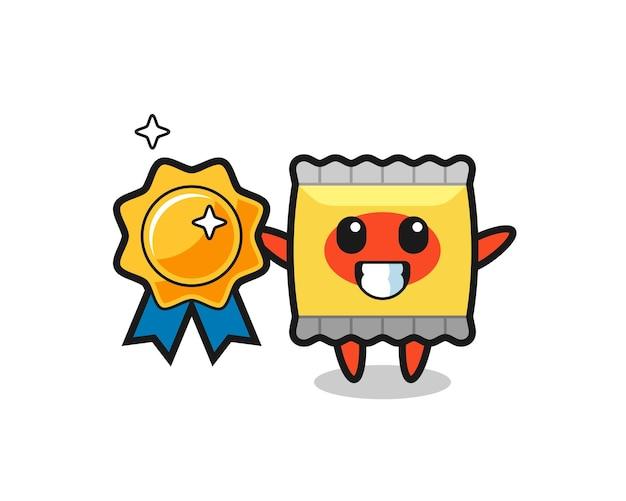 Ilustração do mascote do lanche segurando um distintivo dourado, design de estilo fofo para camiseta, adesivo, elemento de logotipo