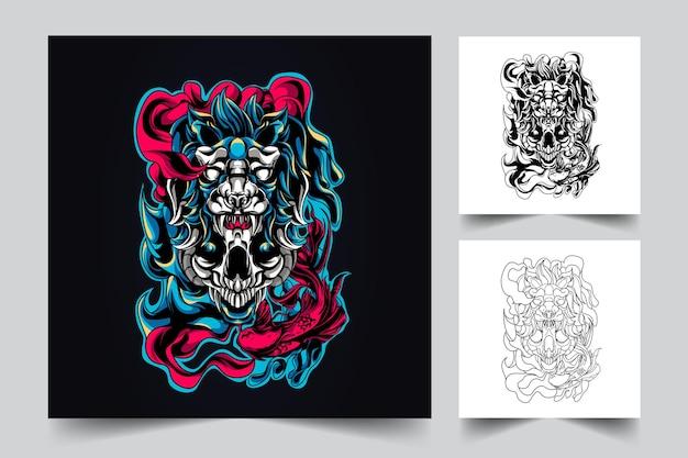 Ilustração do mascote do leão satanás