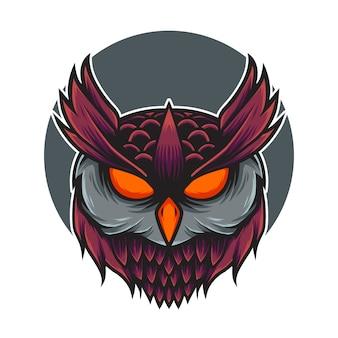 Ilustração do mascote do logotipo da cabeça da coruja