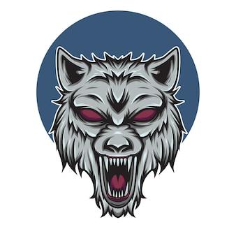Ilustração do mascote do logotipo da cabeça de lobo