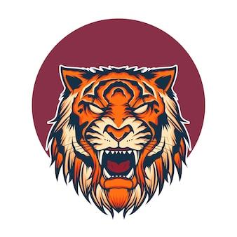 Ilustração do mascote do logotipo da cabeça do tigre