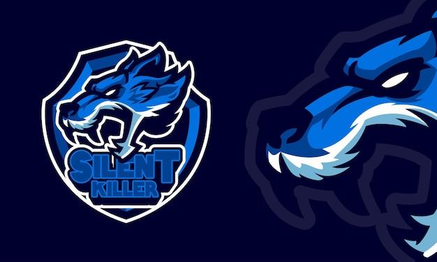 Ilustração do mascote do logotipo de esportes com cabeça de lobo zangado