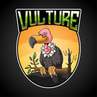 Ilustração do mascote do logotipo do abutre