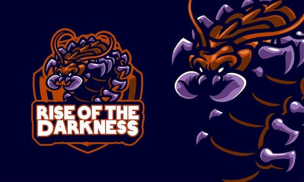 Ilustração do mascote do logotipo do esporte, centopéias terríveis prontas para matar