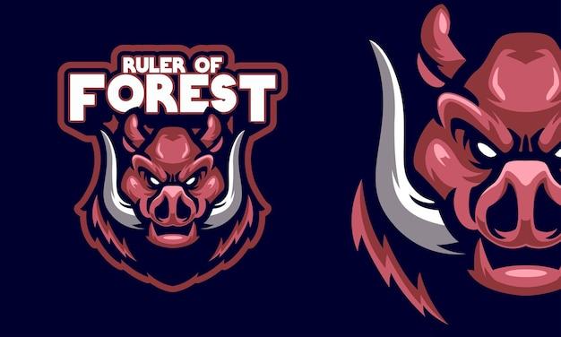Ilustração do mascote do logotipo esportivo de javali irritado