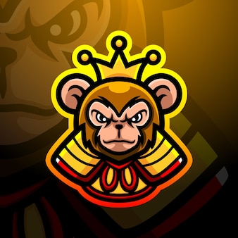 Ilustração do mascote do macaco rei Vetor Premium