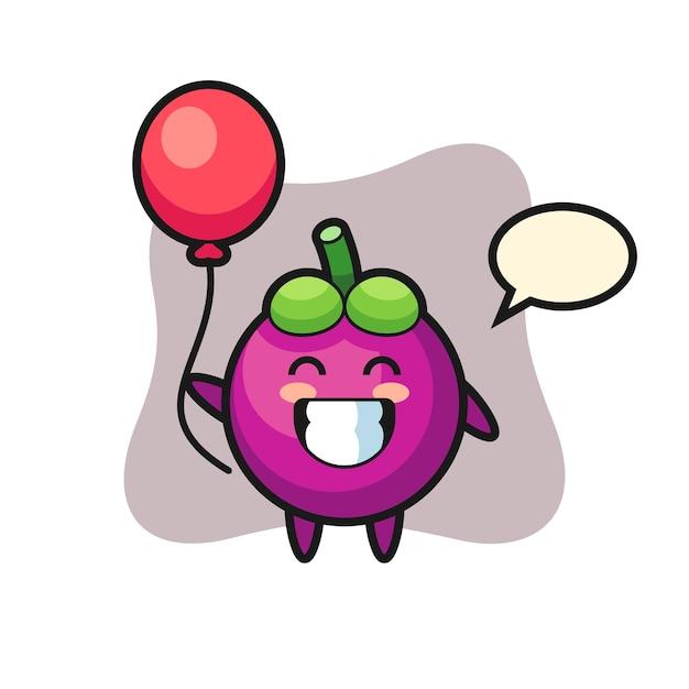 Ilustração do mascote do mangostão está jogando balão, design de estilo fofo para camiseta, adesivo, elemento de logotipo