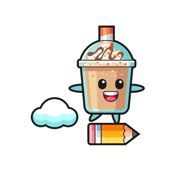 Ilustração do mascote do milk-shake andando em um lápis gigante, design de estilo fofo para camiseta, adesivo, elemento de logotipo