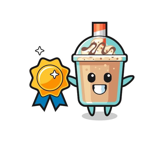 Ilustração do mascote do milk-shake segurando um distintivo dourado, design de estilo fofo para camiseta, adesivo, elemento de logotipo