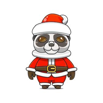 Ilustração do mascote do panda fofo com fantasia de papai noel no natal