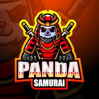 Ilustração do mascote do panda samurai esport