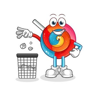 Ilustração do mascote do pirulito jogue lixo na lata de lixo