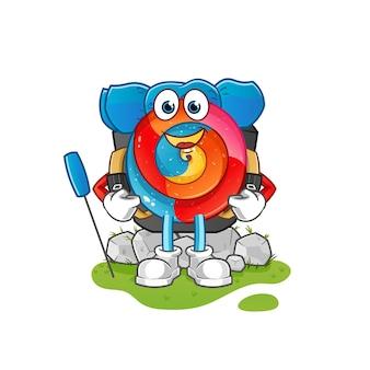 Ilustração do mascote do pirulito vai acampar