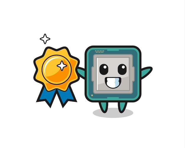 Ilustração do mascote do processador segurando um emblema dourado, design de estilo fofo para camiseta, adesivo, elemento de logotipo