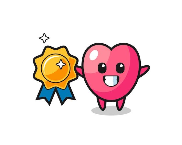 Ilustração do mascote do símbolo do coração segurando um distintivo dourado, design de estilo fofo para camiseta, adesivo, elemento de logotipo