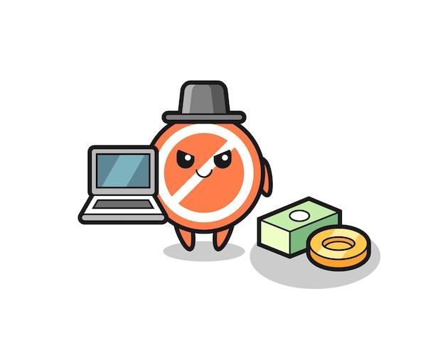 Ilustração do mascote do sinal de stop como um hacker, design de estilo fofo para camiseta, adesivo, elemento de logotipo