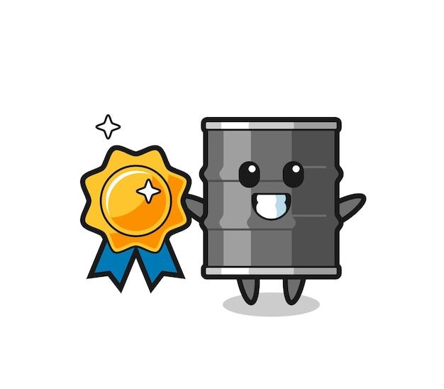 Ilustração do mascote do tambor de óleo segurando um emblema dourado, design fofo
