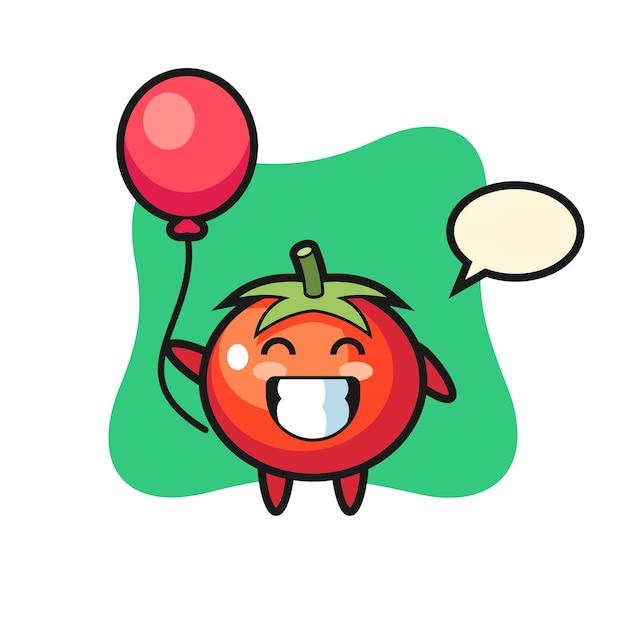Ilustração do mascote do tomate está jogando balão, design de estilo fofo para camiseta, adesivo, elemento de logotipo