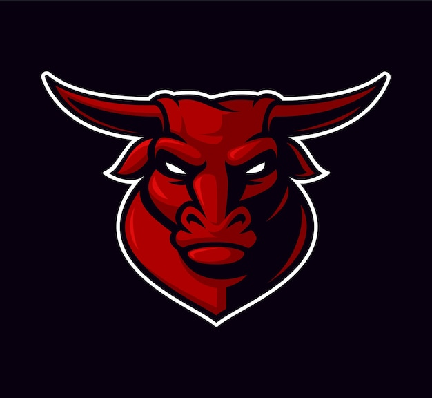 Ilustração do mascote do touro no fundo escuro. no fundo branco.