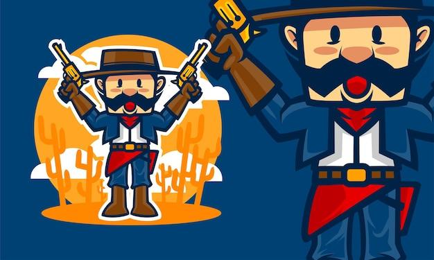 Ilustração do mascote do vetor premium dos desenhos animados do caubói
