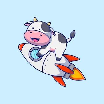 Ilustração do mascote dos desenhos animados da vaca fofa e sorridente voando em um foguete conceito de design premium