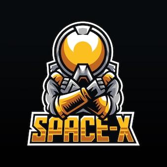 Ilustração do mascote espacial do astronauta para logotipo de esportes e esportes eletrônicos