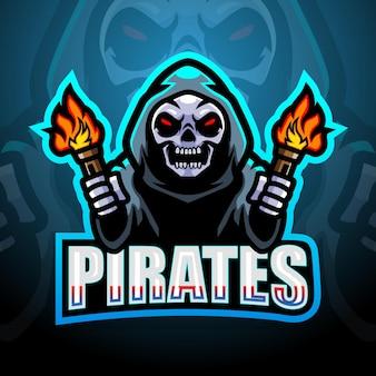 Ilustração do mascote esport do crânio de pirata