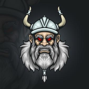 Ilustração do mascote esportivo cabeça viking zangada