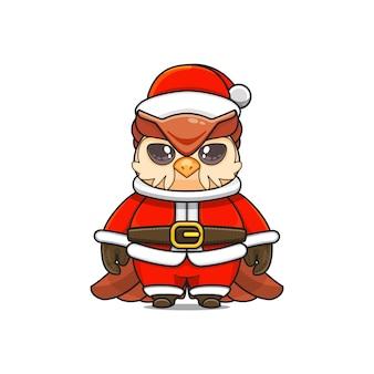 Ilustração do mascote fofo da coruja usando fantasia de papai noel para o natal
