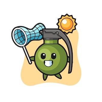 Ilustração do mascote grenade is catching butterfly, design de estilo fofo para camiseta, adesivo, elemento de logotipo