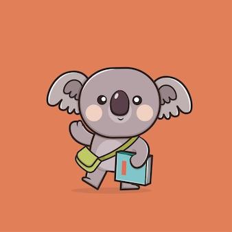 Ilustração do mascote kawaii cute koala de volta às aulas
