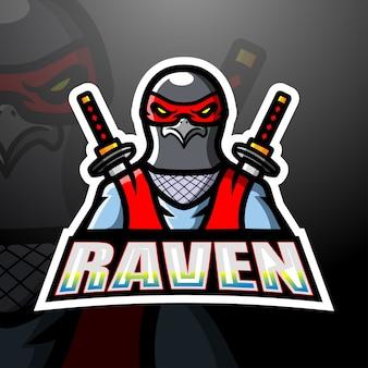 Ilustração do mascote ninja raven esport