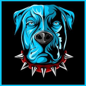Ilustração do mascote pitbull irritado