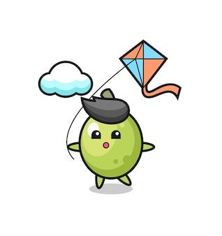 Ilustração do mascote verde-oliva está jogando pipa, design de estilo fofo para camiseta, adesivo, elemento de logotipo