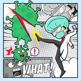 Ilustração do médico contra o vírus covid-19 com estilo cômico