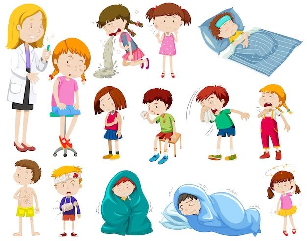 Ilustração do médico e muitos pacientes doentes