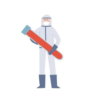 Ilustração do médico minúsculo e tubo grande com sangue