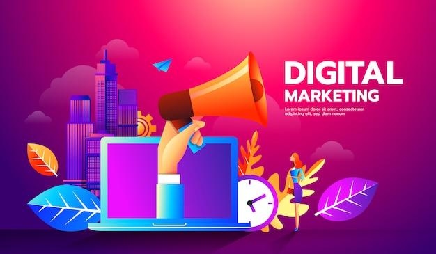Ilustração do megafone e ícones diferentes para o conceito de marketing digital.