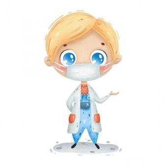 Ilustração do menino bonito do doutor dos desenhos animados no casaco médico branco, com máscara protetora.