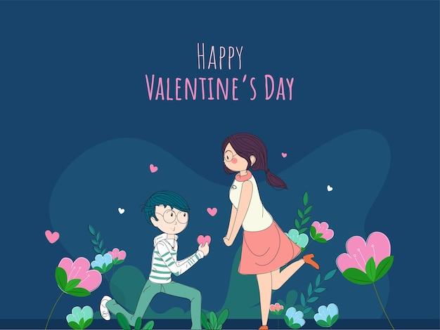 Ilustração do menino bonito, propondo a namorada no fundo azul floral para o conceito de feliz dia dos namorados.