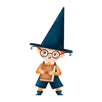 Ilustração do menino feiticeiro de halloween bonito dos desenhos animados com o livro mágico isolado no fundo branco