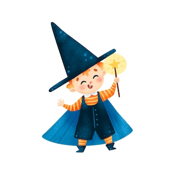 Ilustração do menino feiticeiro de halloween bonito dos desenhos animados com varinha mágica isolada no fundo branco