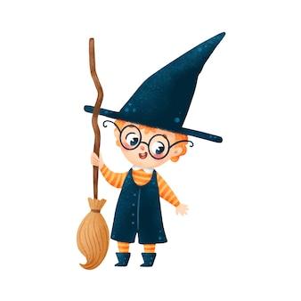 Ilustração do menino feiticeiro de halloween bonito dos desenhos animados com vassoura isolada no fundo branco