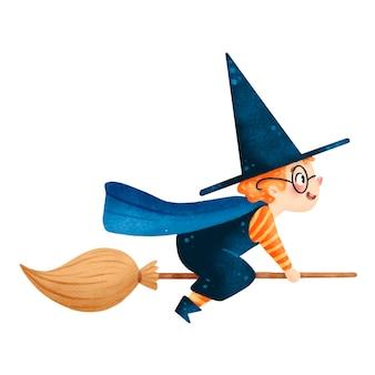 Ilustração do menino feiticeiro de halloween bonito dos desenhos animados em uma vassoura isolada no fundo branco