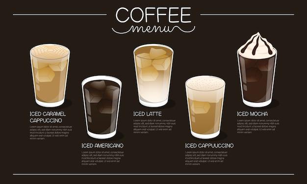Ilustração do menu de café com diferentes tipos de bebida de café gelado em fundo escuro