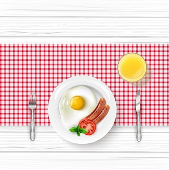 Ilustração do menu de café da manhã realista
